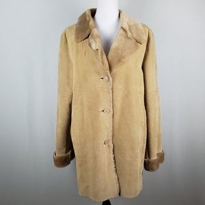 VTG Marvin Richards Leather Faux Fur Trim Jacket